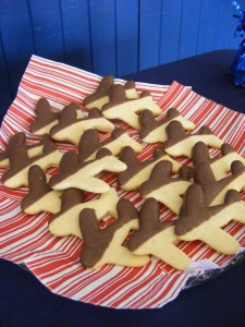 Chocolate dipped plane cookies