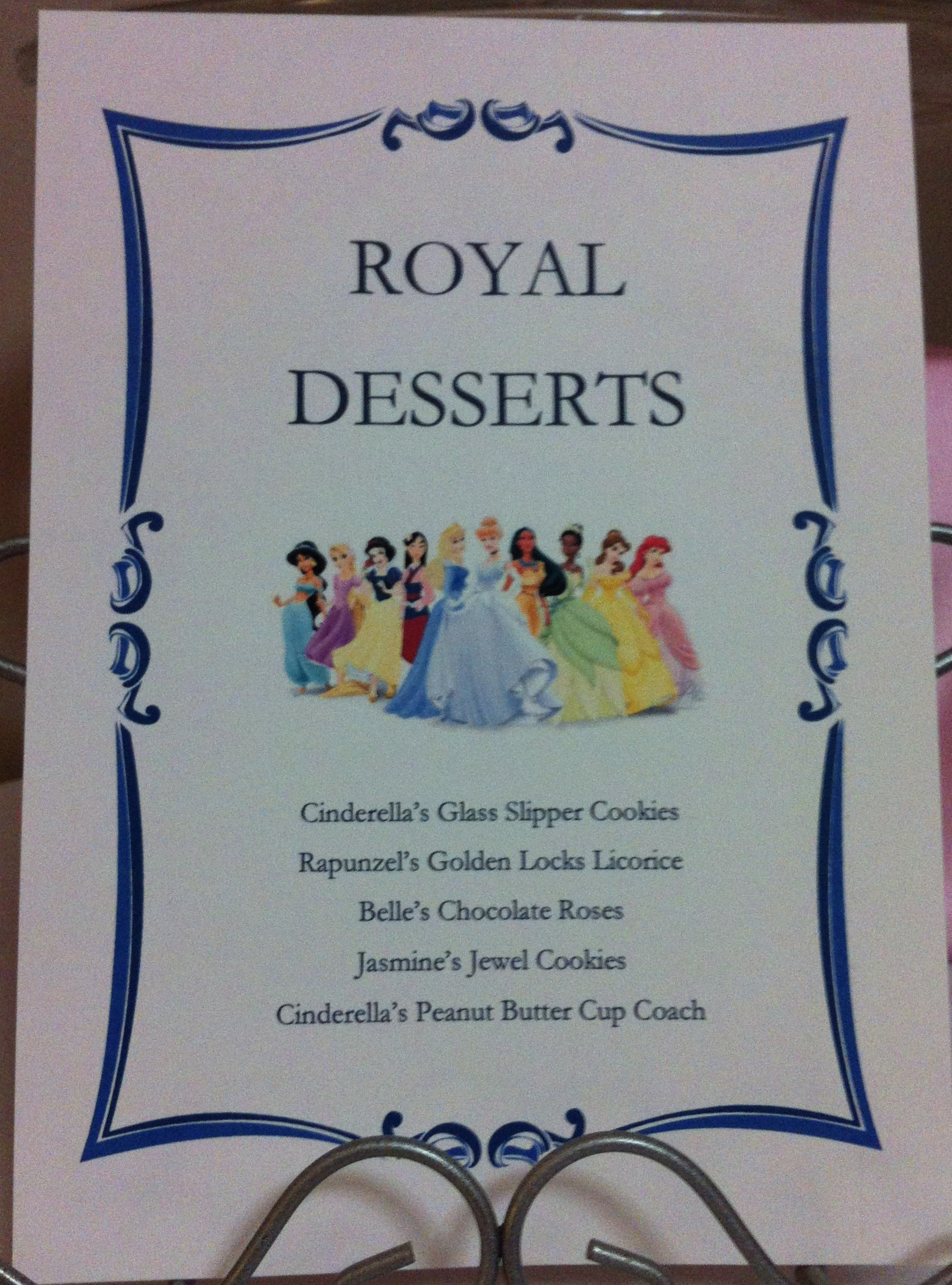 The Two Menus On The Table Told Of How Each Treat Was Themed After A Disney  Princess.
