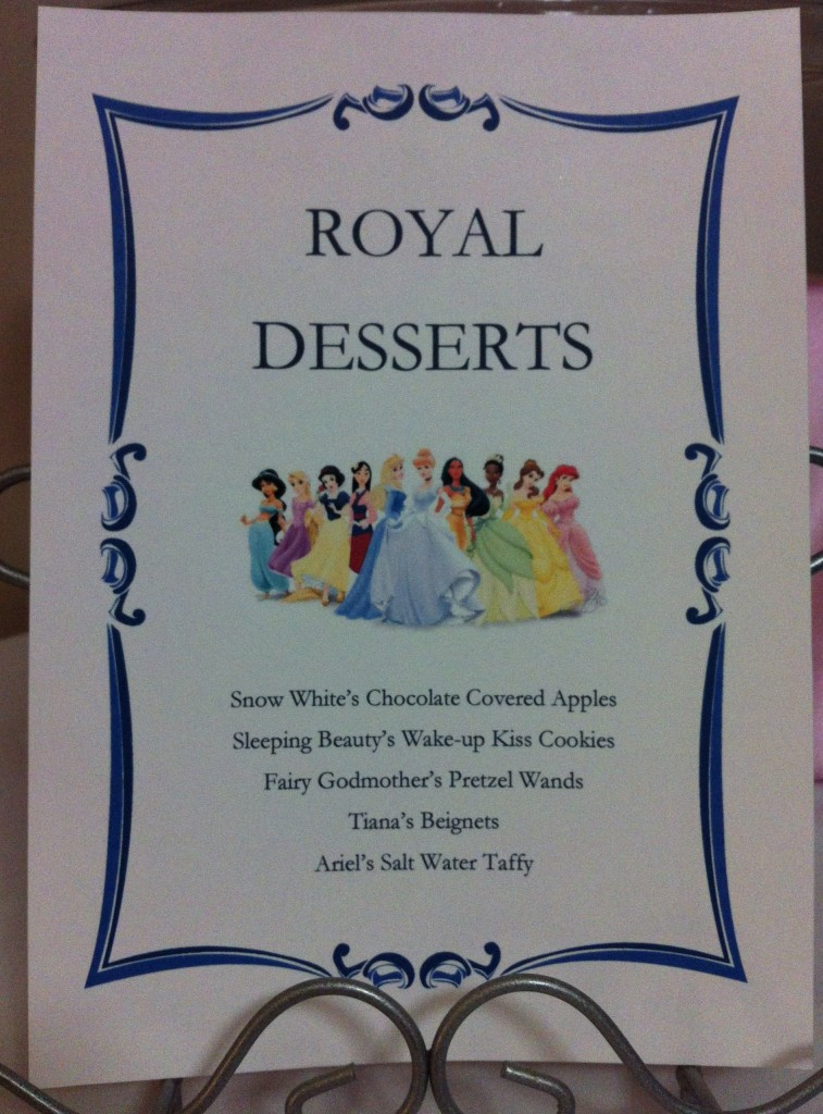 Royal Desserts menu