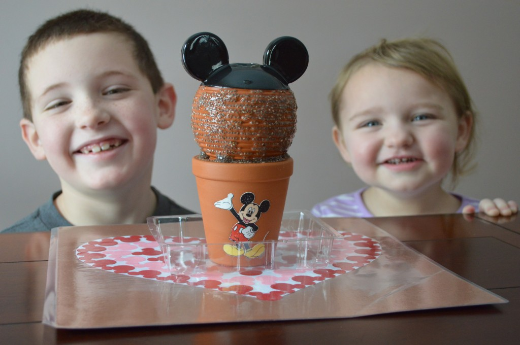 Chia Pet Mickey with the kids