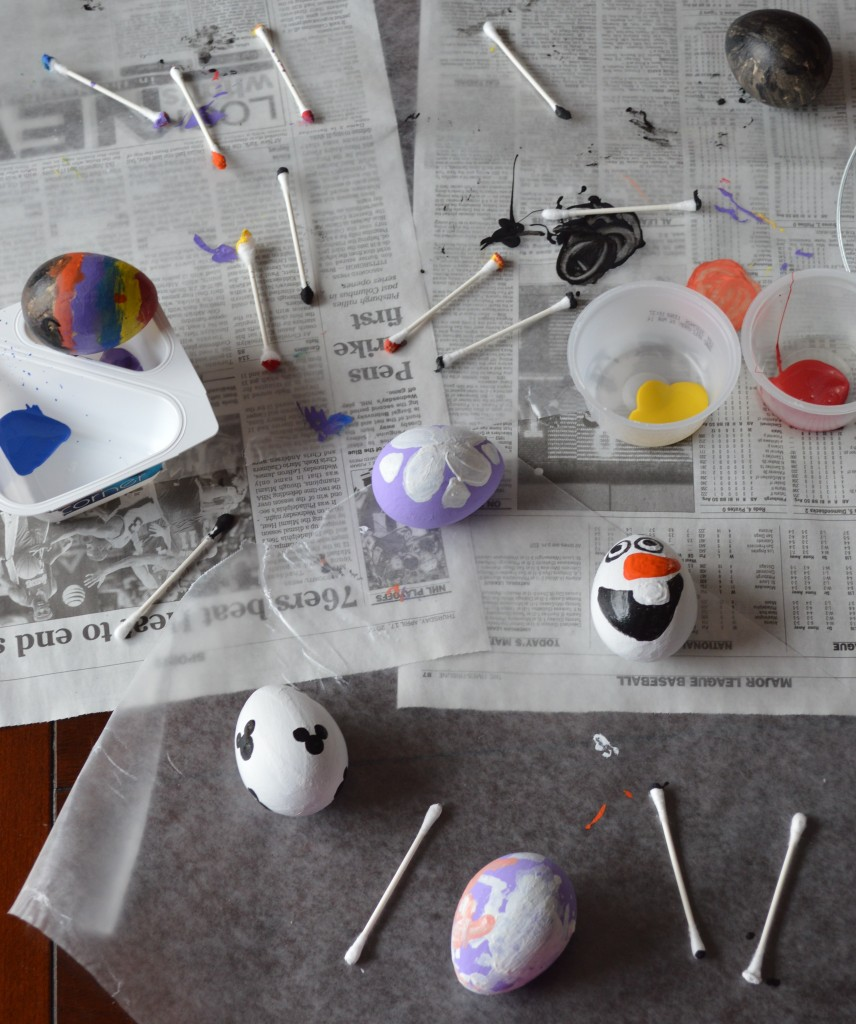 Disney character inspired eggs Q-Tip painting