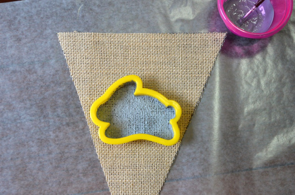 Wilton cookie cutter on burlap