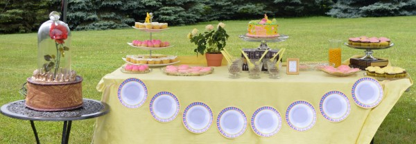 Belle Birthday Party ~ Dessert table decor