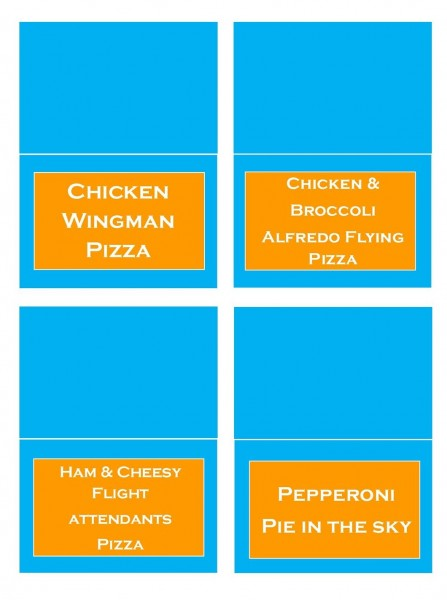 planes pizza menu