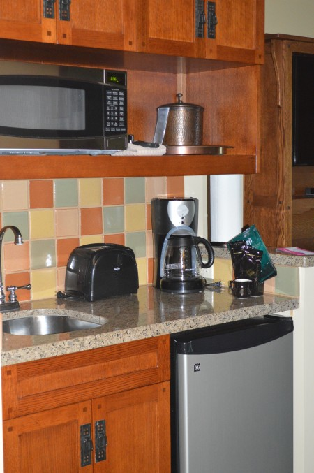 kitchenette within the studio room at Disney's Grand Californian Hotel & Spa